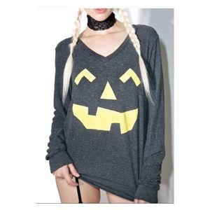 Wildfox Jack-O-Lantern Gray Sweatshirt